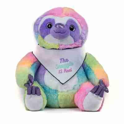 A rainbow sloth wearing a white bandanna