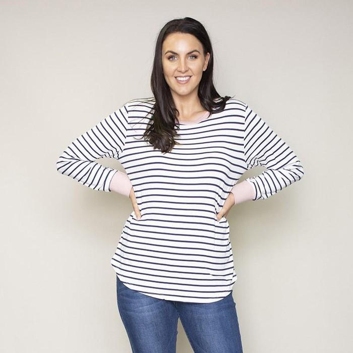 Katie Contrast Cuff Stripe Top (Blush)