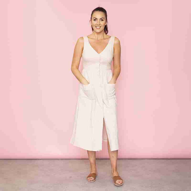 Bree Bow Back Midi Dress (Beige)