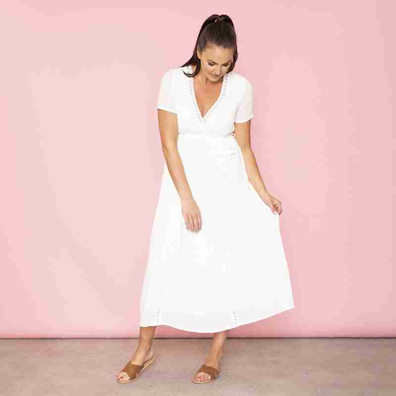 Lara Lace Trim Maxi Dress (White)