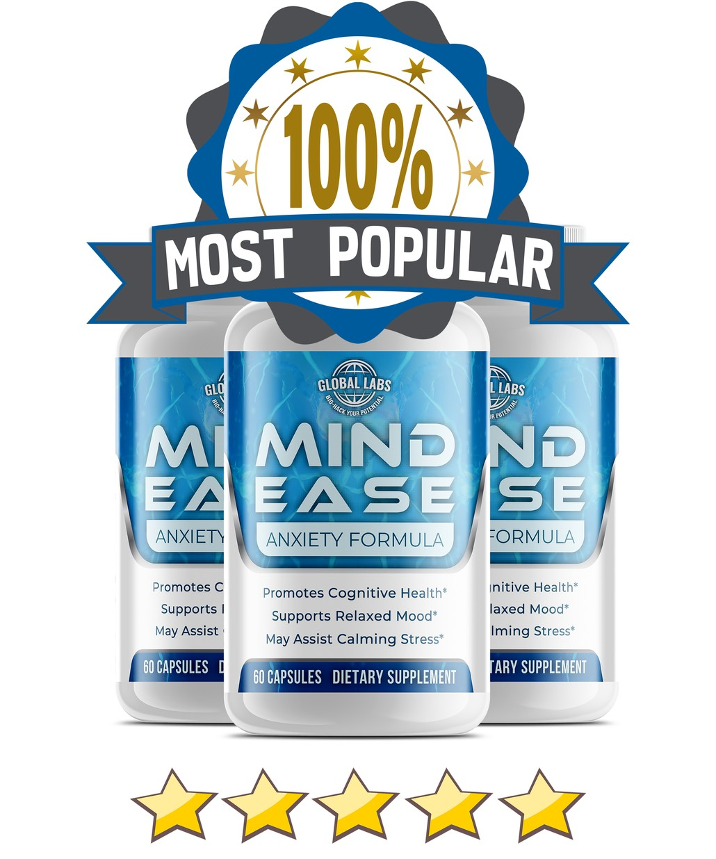 Mind Ease - Anxiety & Stress Relief (3 Bottles)