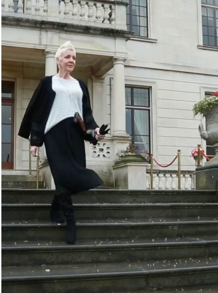 Long Pleat Skirt in Black
