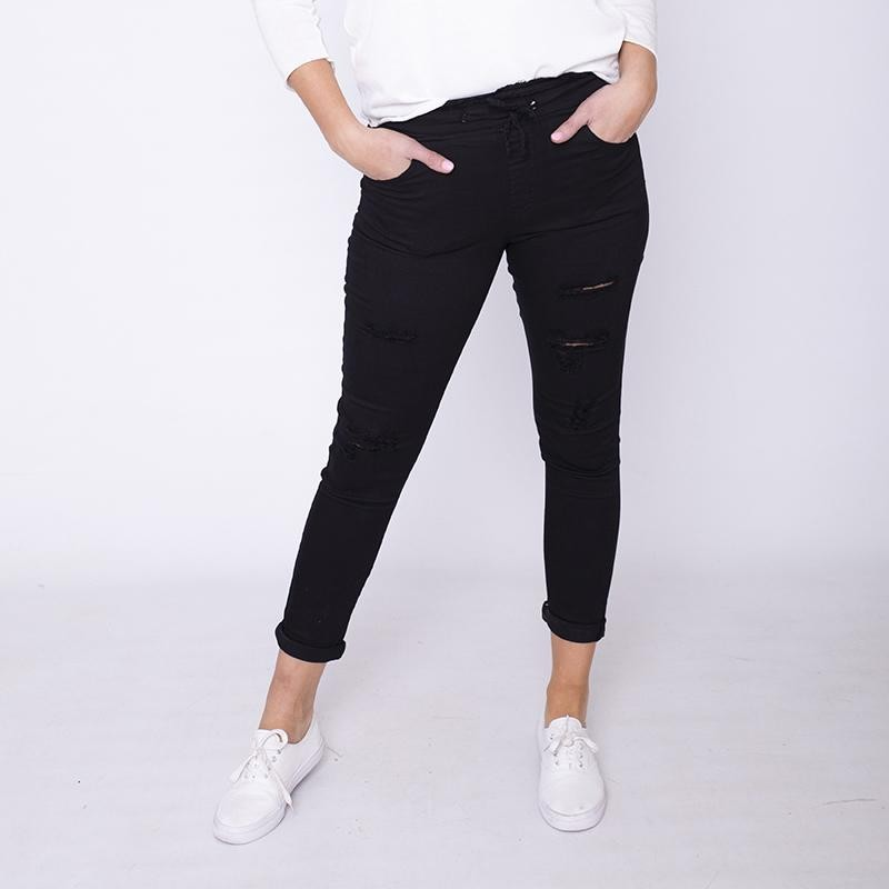 Dana Drawstring Jeggings Black (Curve)