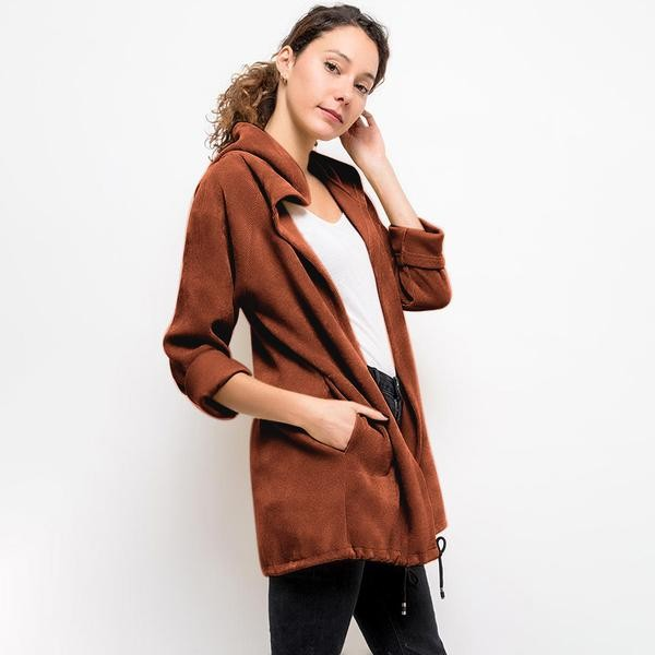 Vella Chenille Hooded Cardigan Rust