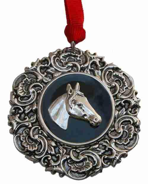 Christmas Ornament Vintage Silver Medallion, Black Enamel and Silver Horse head