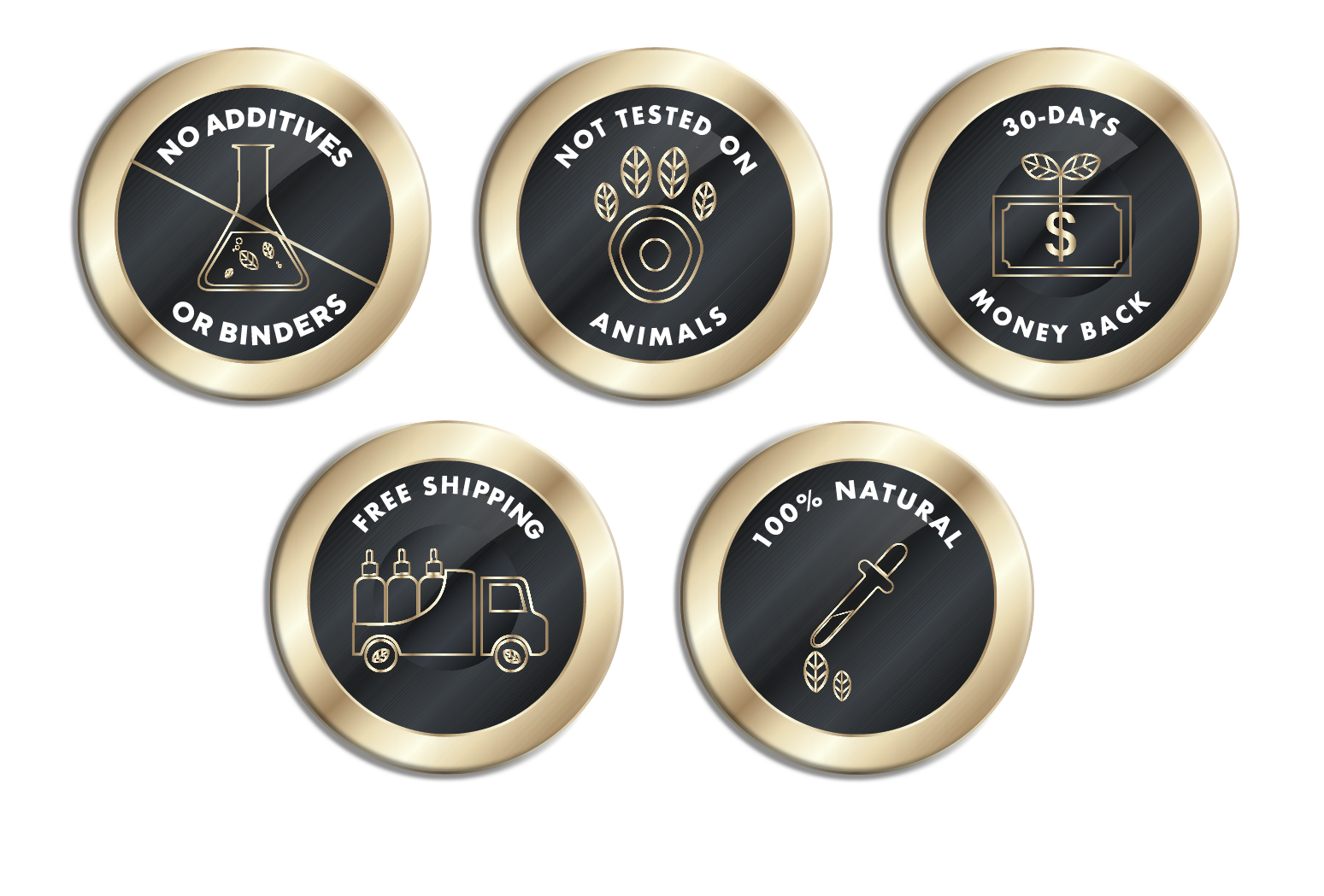iYURA Trust Badges: 1. No Additives or Binders 2. Not Tested on Animals 3. 30-Day Money-back Guarantee 4. Free Shipping 5. 100% Natural