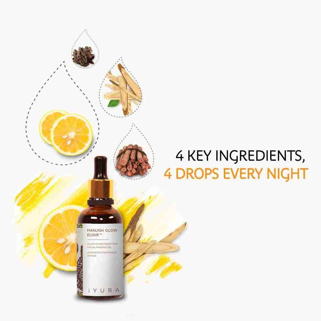 4 key ingredients, 4 drops every night - seen here a bottle of manjish with its 4 main ingredients