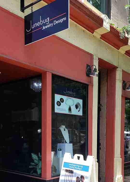 The Junebug Jewelry Designs storefront located at 1327 Vine Street in Cincinnati, Ohio 45202