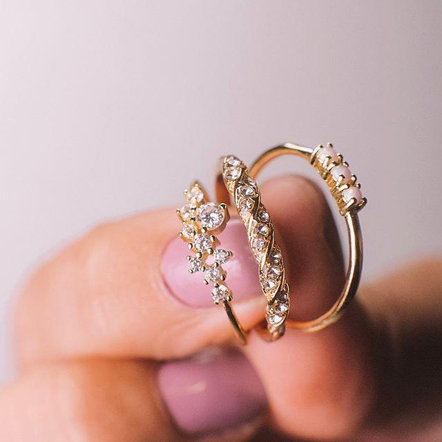Three Blush and Bar rings