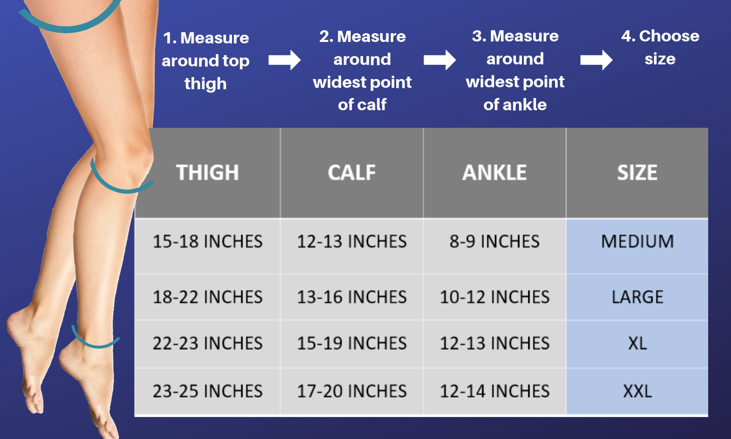 How To Measure & Find The Right Size of Thigh High Compression Stockings