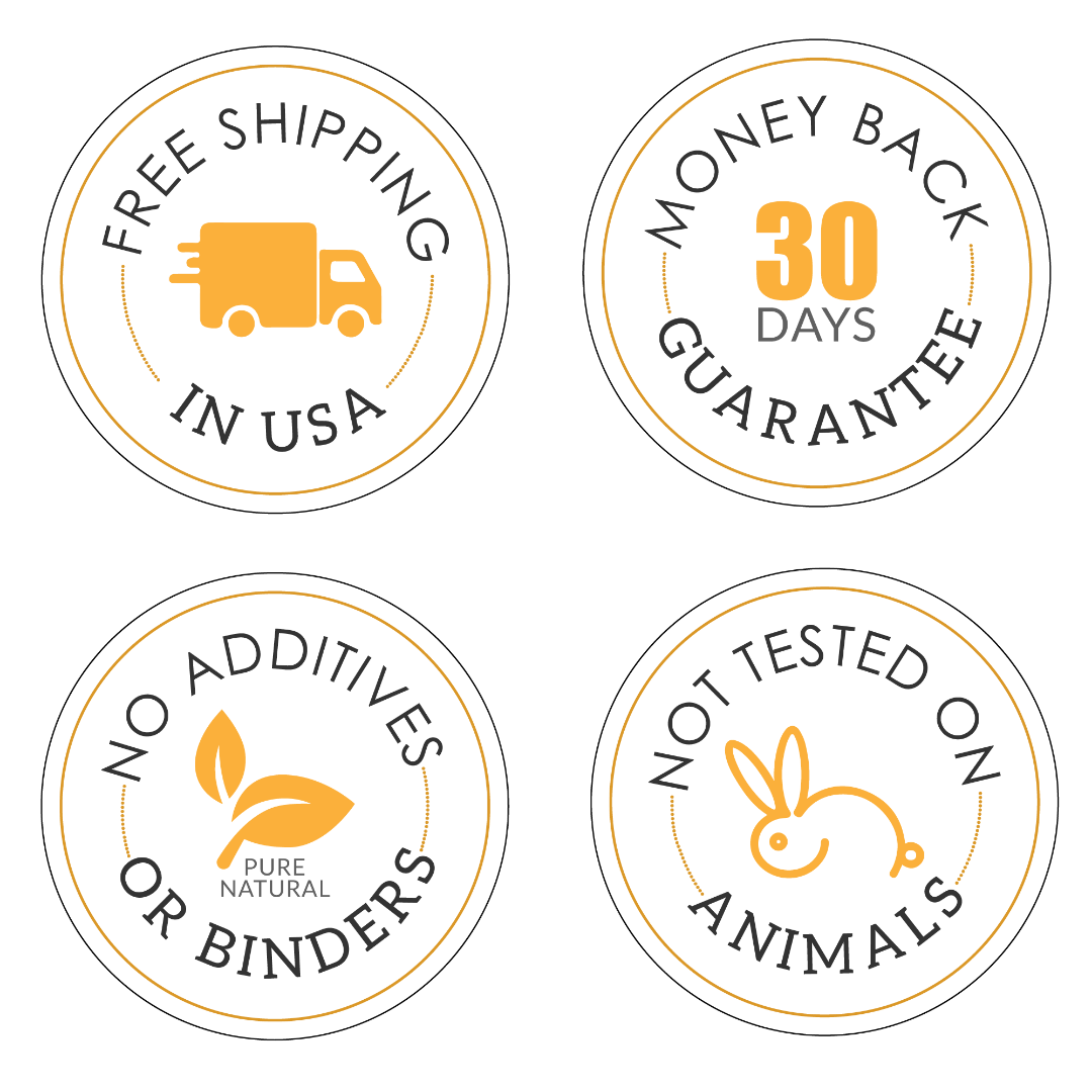 iYURA Trust Badges: 1. Free Shipping 2. 30-Day Money-back Guarantee 3. No Additives or Binders 4. Not Tested on Animals