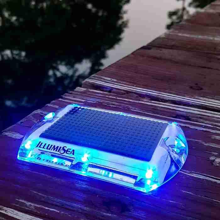 blue led solar dock waterproof lights