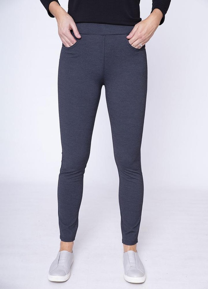 Stretch Waist Stud Pocket Trouser in Grey