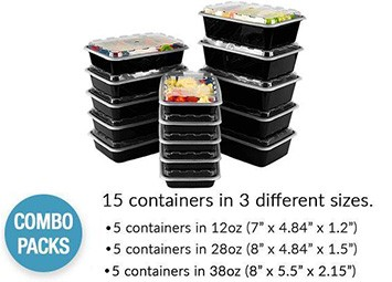 Black Meal Prep Container Combo Pack