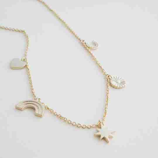 HONEYCAT plated brass necklace in yellow gold