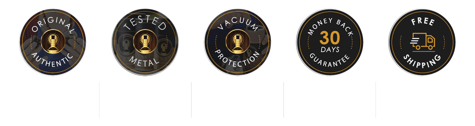 iYURA Trust Badges ensuring 1. Original, Authentic product 2. Tested Metal 3. Vacuum Protection 4. 30-Days Money-back Guarantee & 5. Free Shipping