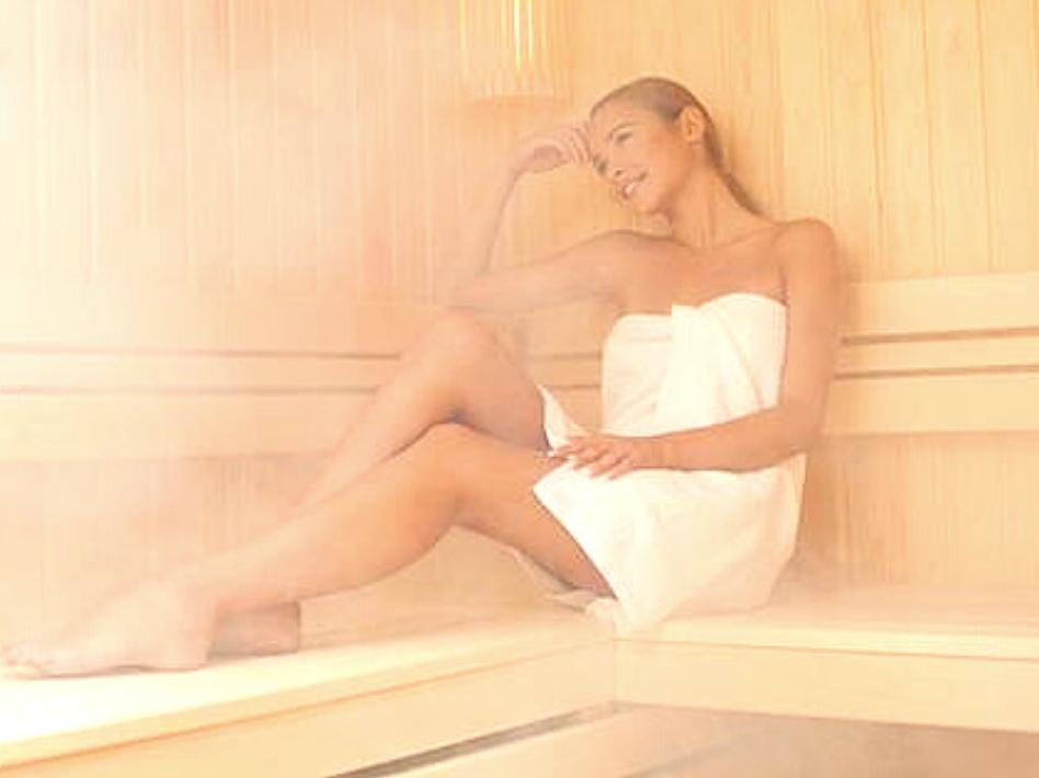 Woman in an Indoor Sauna
