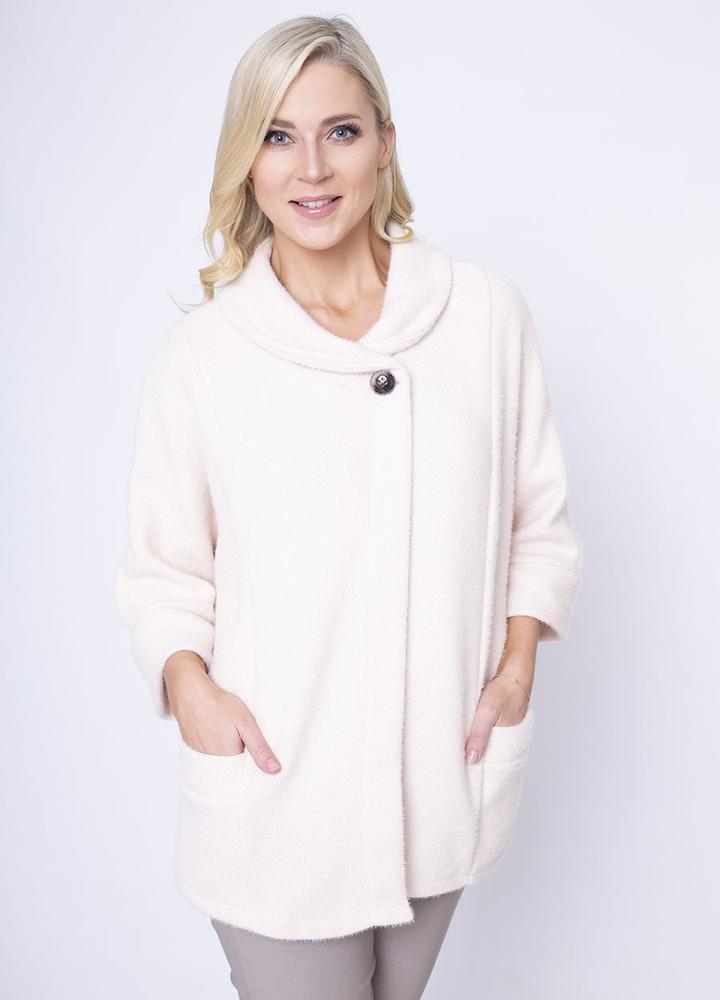 Round Neck 3/4 Sleeve Coat/Cardi in Cream