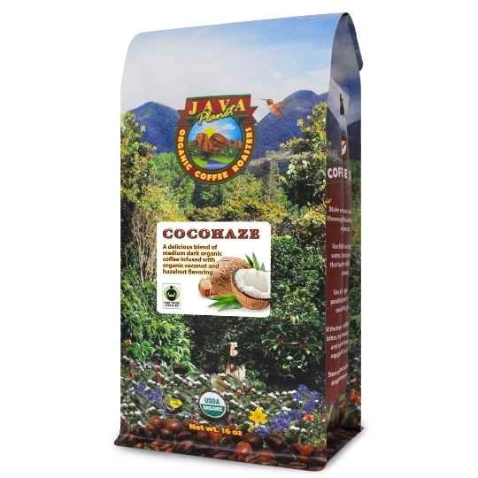 best organic flavored coffee coconut hazelnut cocohaze fair trade certified
