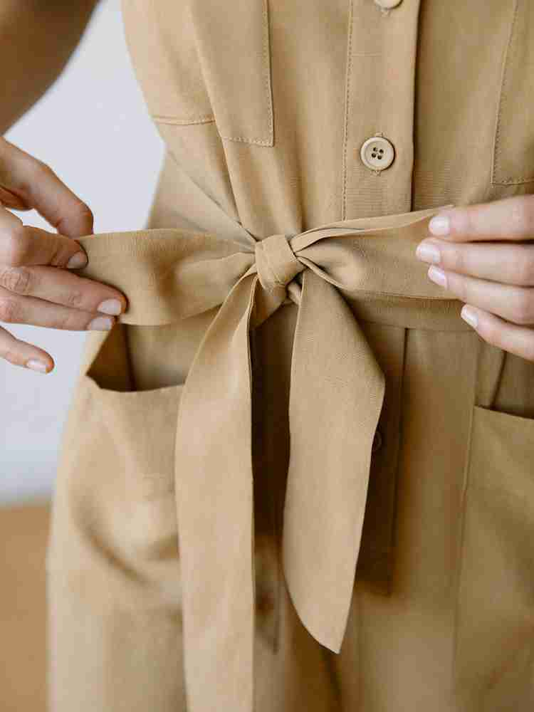 Sustainable Linen Fabric - Finn Jumpsuit Sand