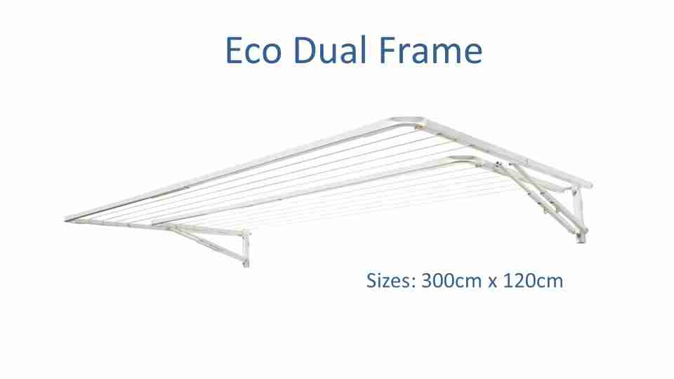 eco dual frame 280cm wide front view and standard dimensions