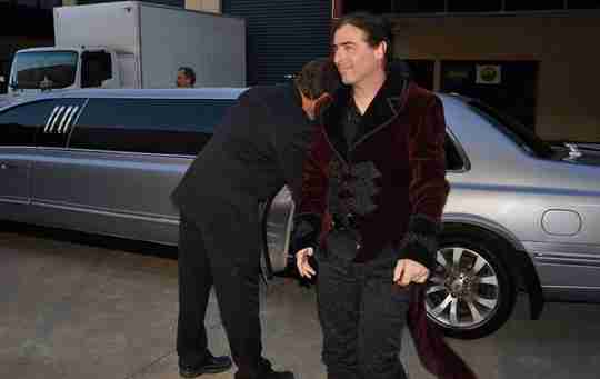 Actor & Musician Mike Lambeth arriving at an Awards Night in Sydney wearing the Velvet Diablo Tailcoat from Gallery Serpentine