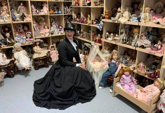 Silvia in her unique Doll Museum at Monte Cristo Homestead wearing the splendid pinstripe victorian wedding dress by Gallery Serpentine