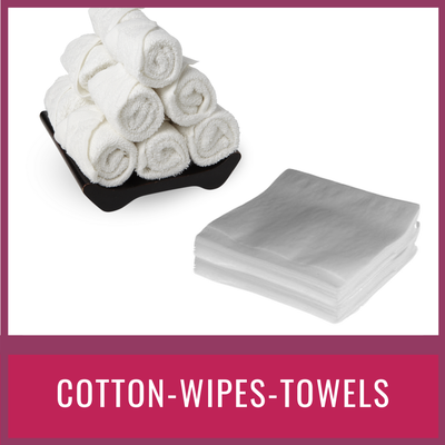 cotton wipes and towels