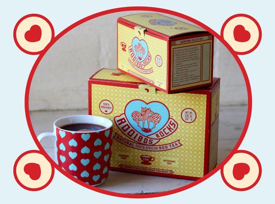 rooibos rocks tea boxes with mug