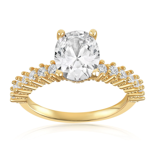 Gold ring with a cubic zirconia gem in the center