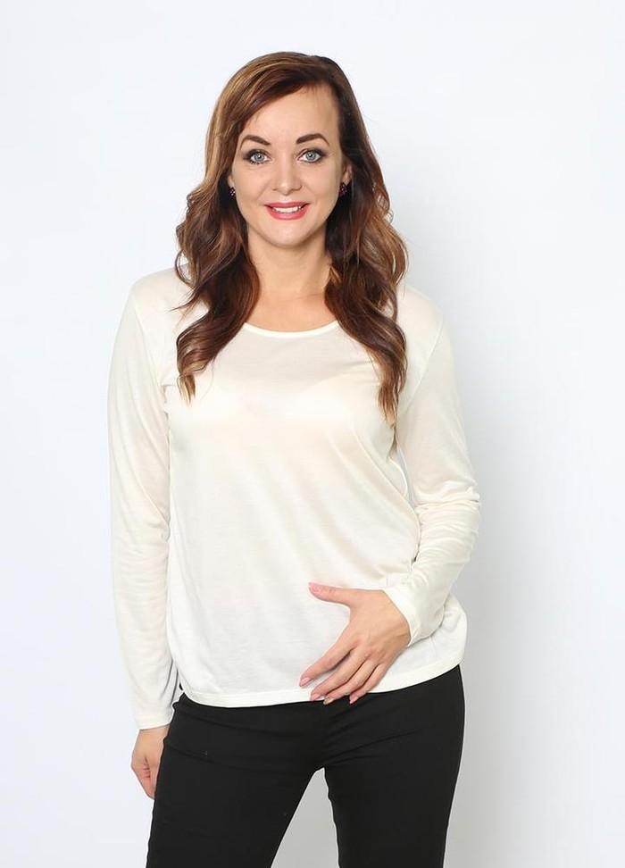 Basic Fleece Lined Top in Cream