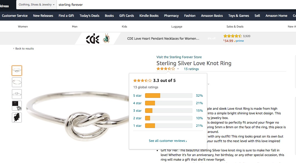 Sterling Forever Customer Reviews on Amazon
