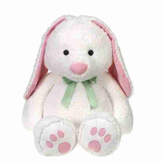 A large white rabbit with pink ears.