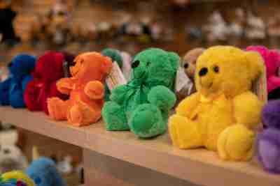 Colorama Bears on a shelf.