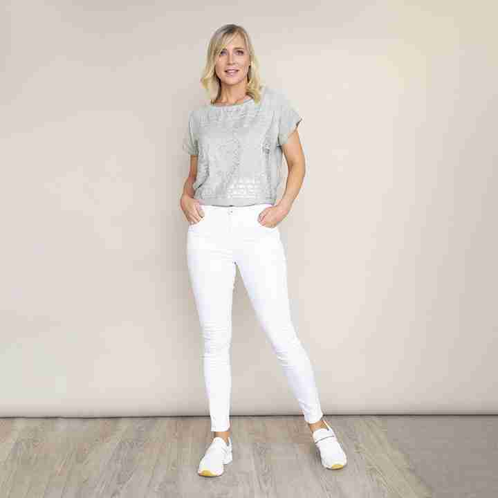 Stretch Waist Cotton Trouser(White)