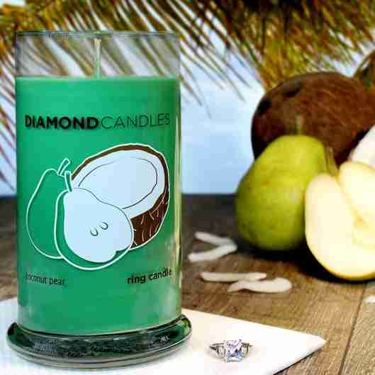 A coconut pear candle from Diamond Candles