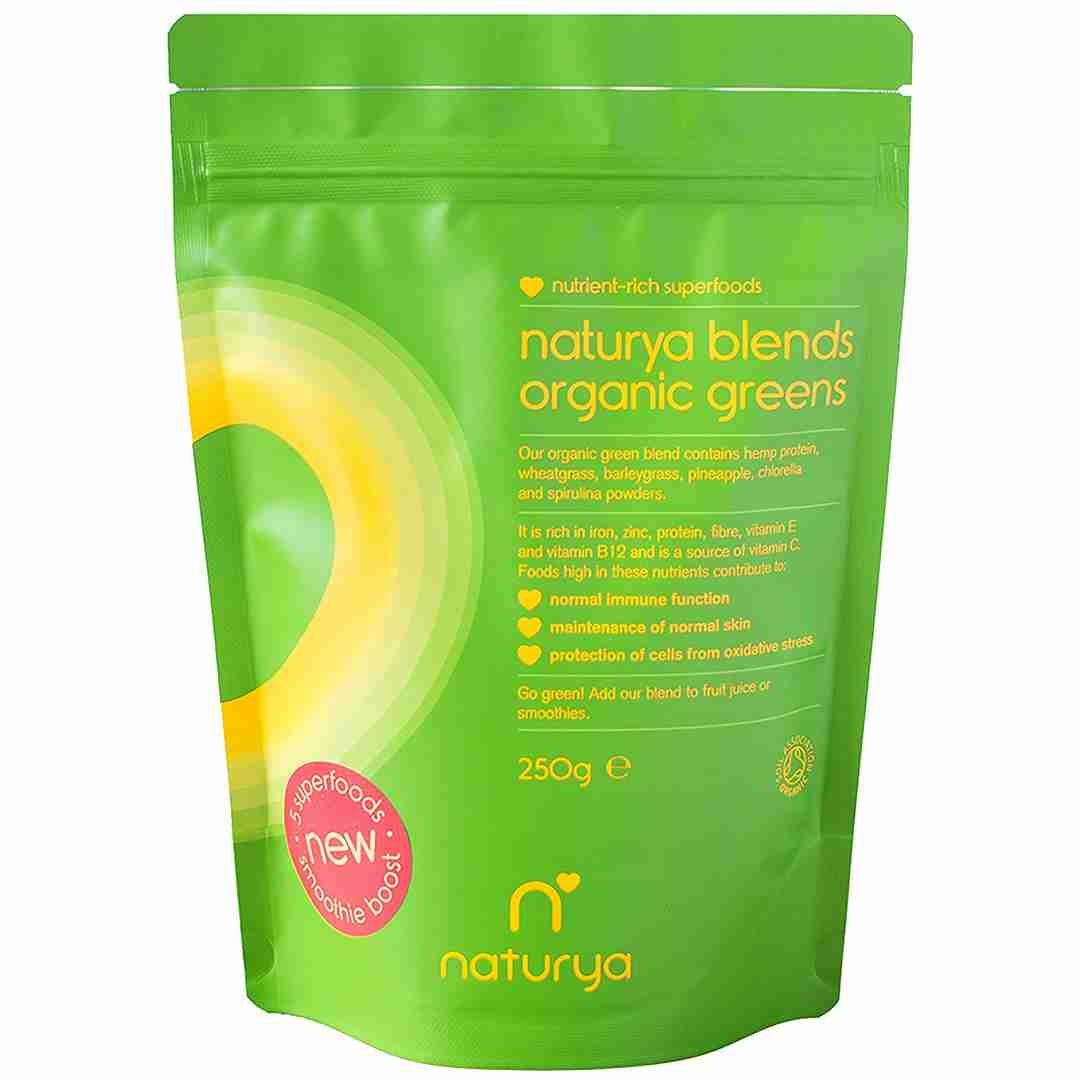 Naturya blends Organic Greens containing hemp protein