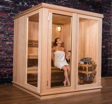 Woman in a Grayson 4 Person Indoor Sauna