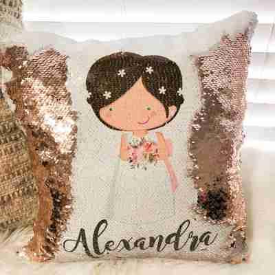 A sequin pillow