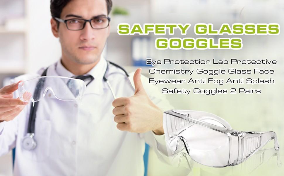 Safety Glasses Goggles Eye Protection Lab Protective Chemistry Goggle Glass Eyewear Anti Fog Anti Splash Safety Goggles 2 Pairs