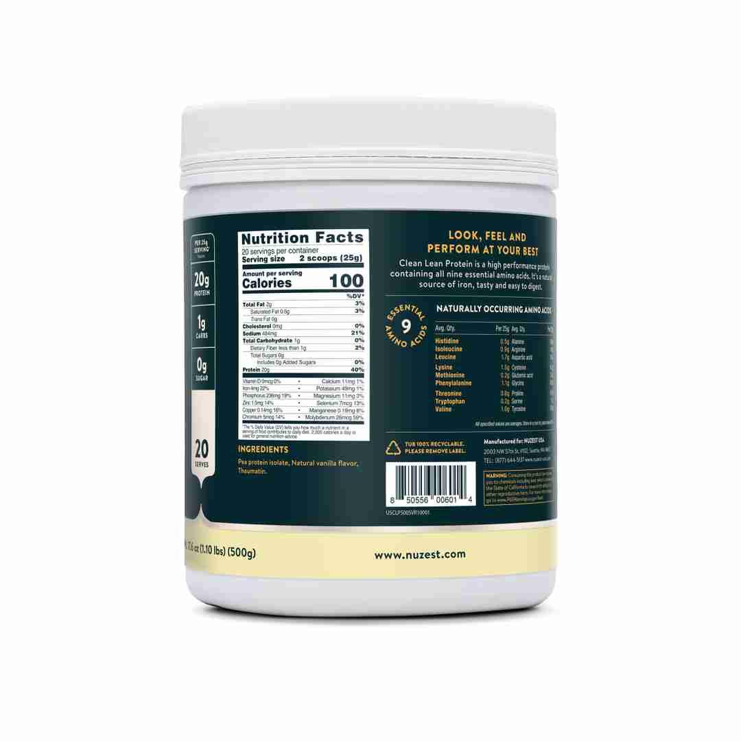 Smooth Vanilla Ingredient Label