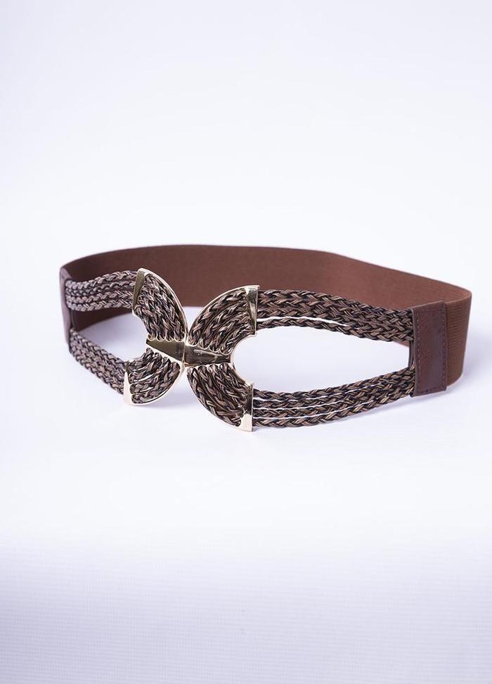 Gold Braided Elastic Waist Belt in Brown