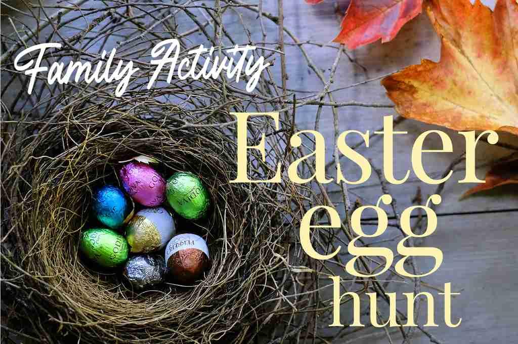 Easter Egg Hunt in the garden - Easter Eggs in a birds nest in Autumn
