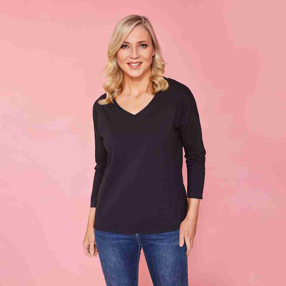 Riley V Neck Top (Black)