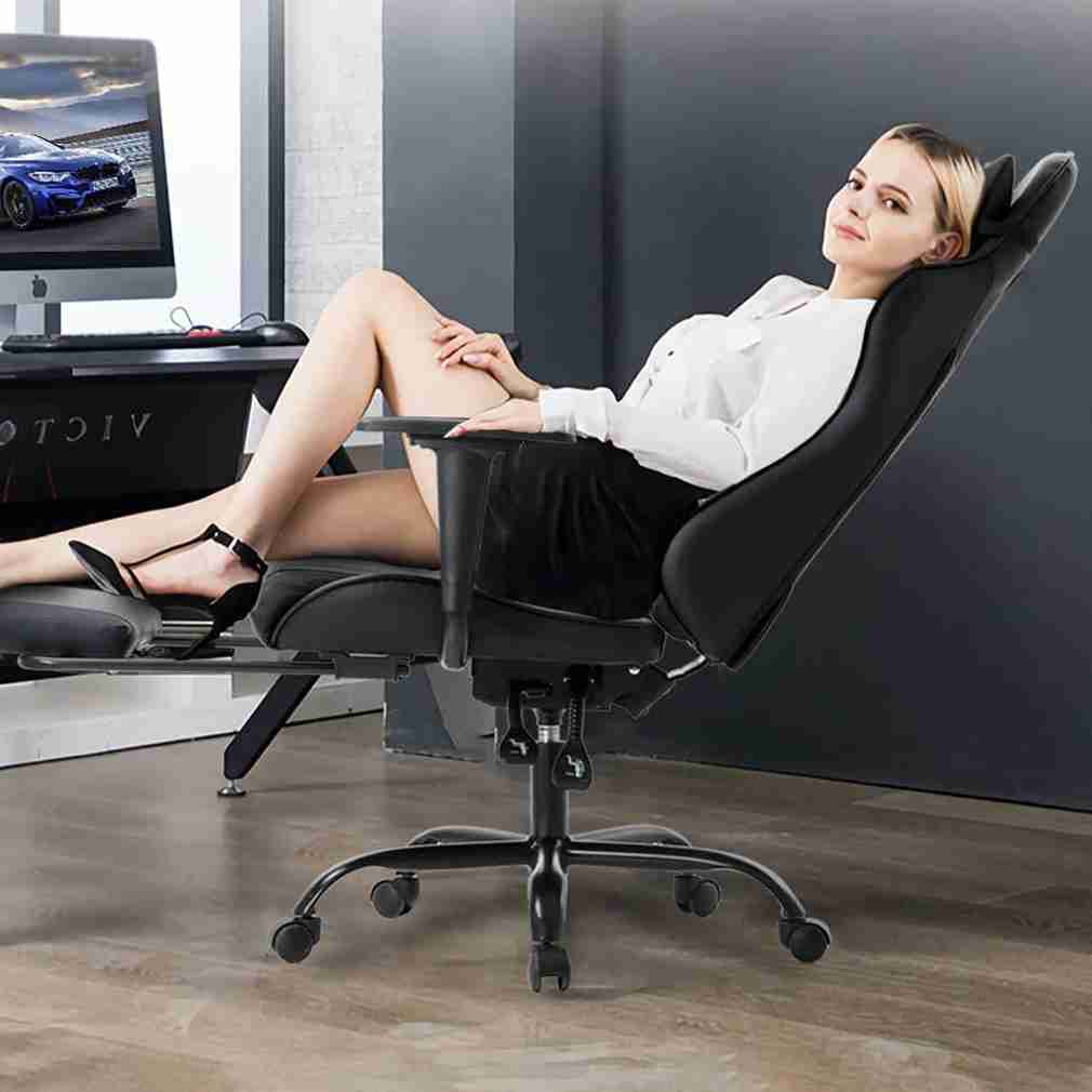 image of a women laying back on a gaming chair