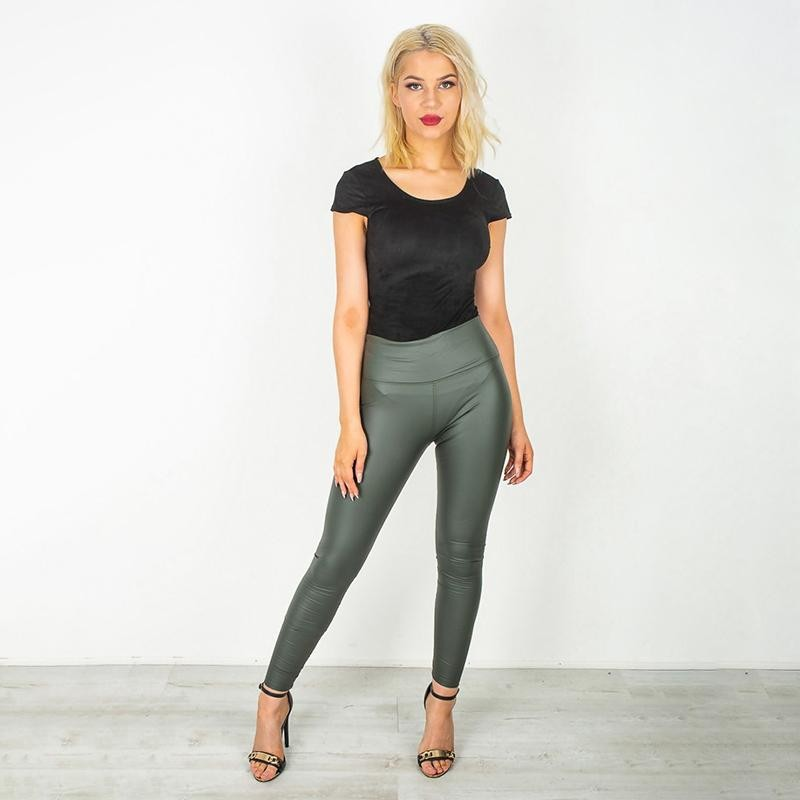 Wet Look PU Leggings Khaki