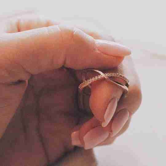 The Nadia X Infinity Ring in rose gold