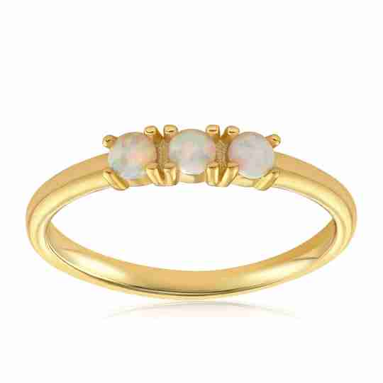 Blush and Bar Simple Dots White Fire Opal Ring