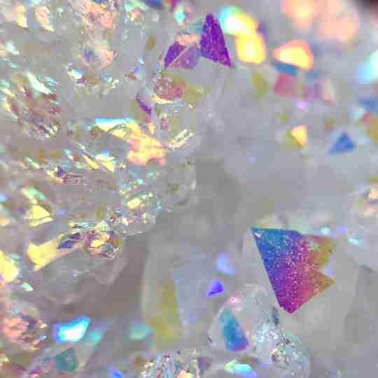 Multicolored angel aura quartz crystals