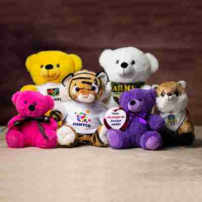 A group pf plush animals sitting together